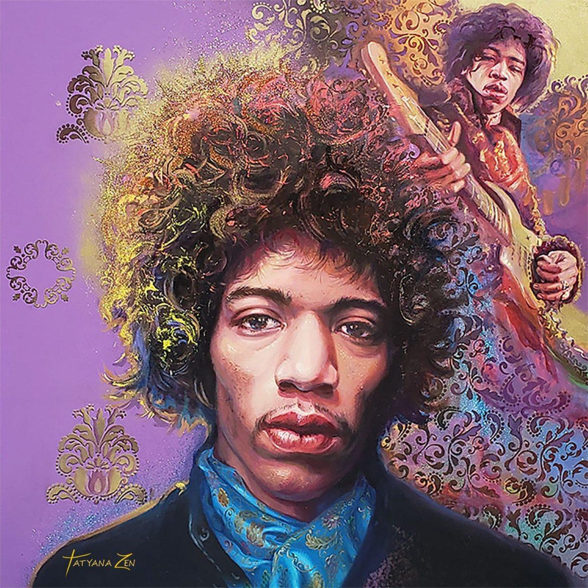 """Jimi Hendrix Original Oil Painting 48x48"""""""