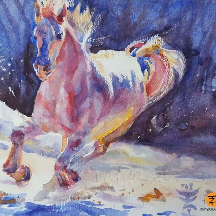 White Horse Watercolor