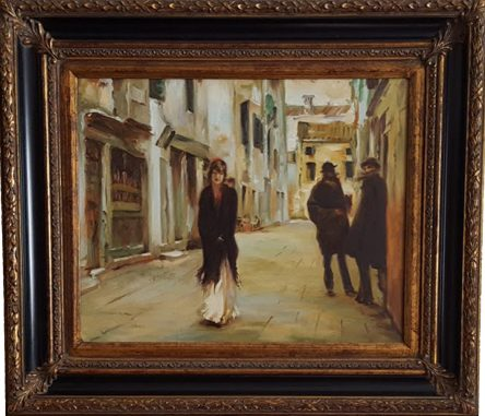 Street in Venice after Sargent Original Replica Framed