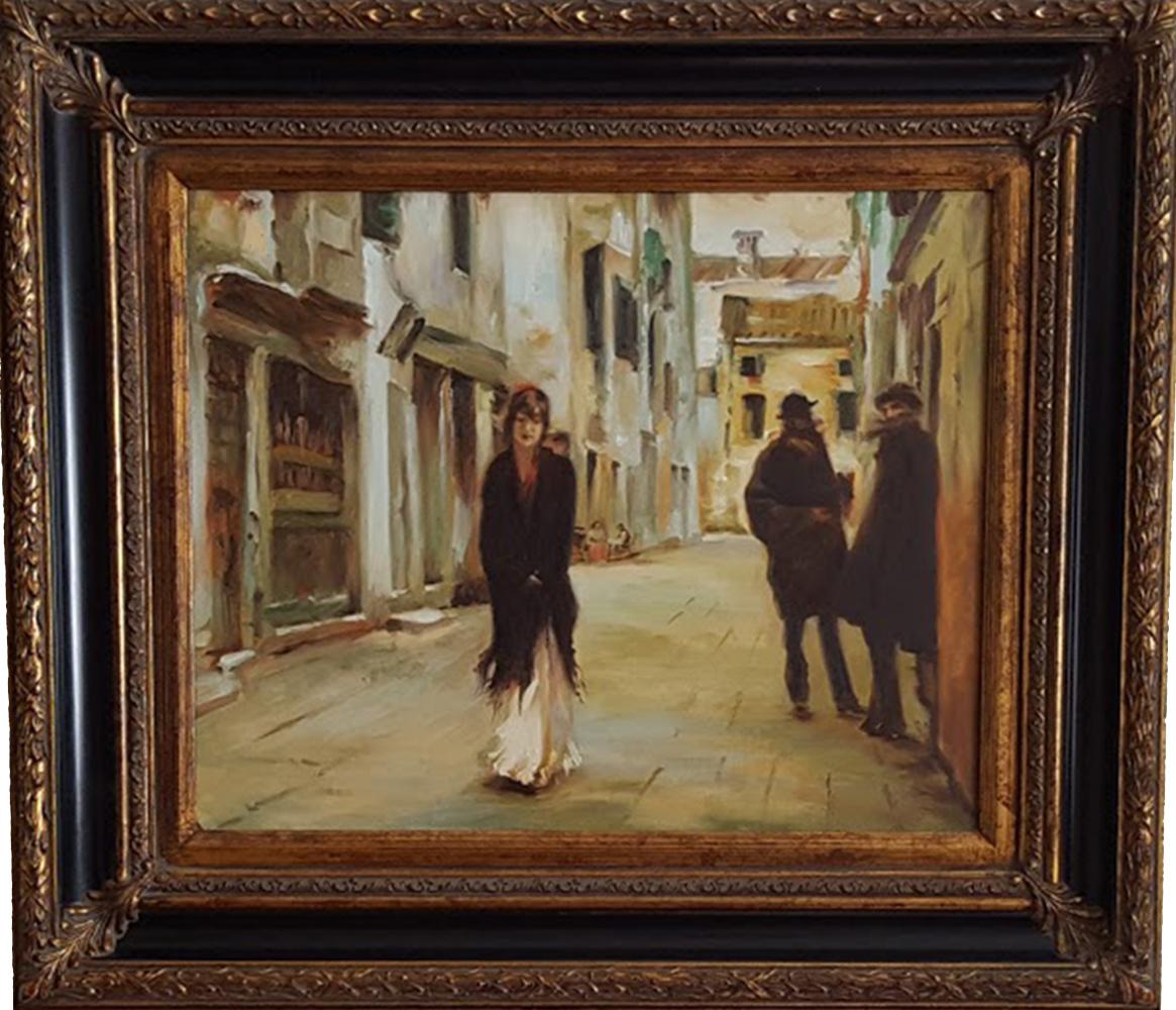 Street in Venice after Sargent Original Replica Framed