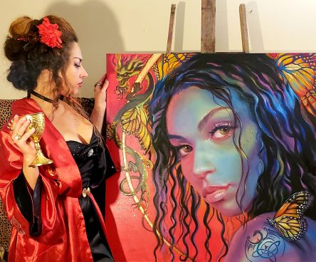 Artist Photo with Butterfly Goddess Original Painting