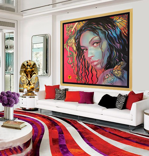 Interior Design with Butterfly Goddess Original Painting