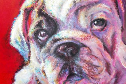 Pitbull Puppy Original Oil Painting Detail
