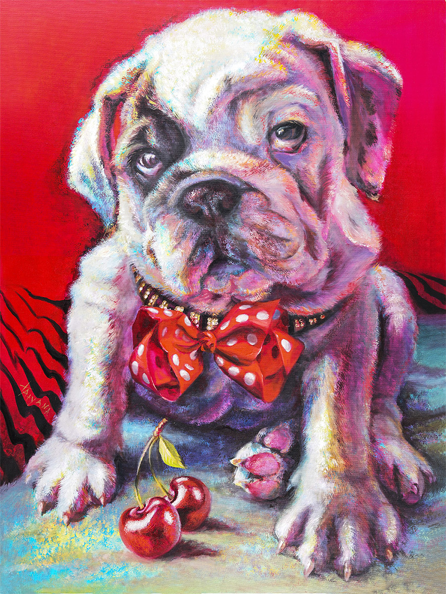 Pitbull Puppy Original Oil Painting