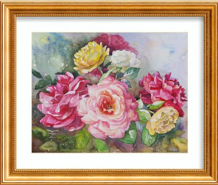 Roses Watercolor Painting Framed