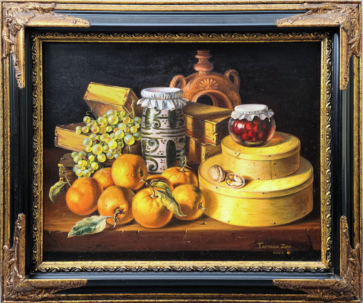 Framed Still Life with Oranges Original Painting