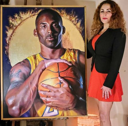 Tatyana Zen with Kobe Bryant Tribute Painting